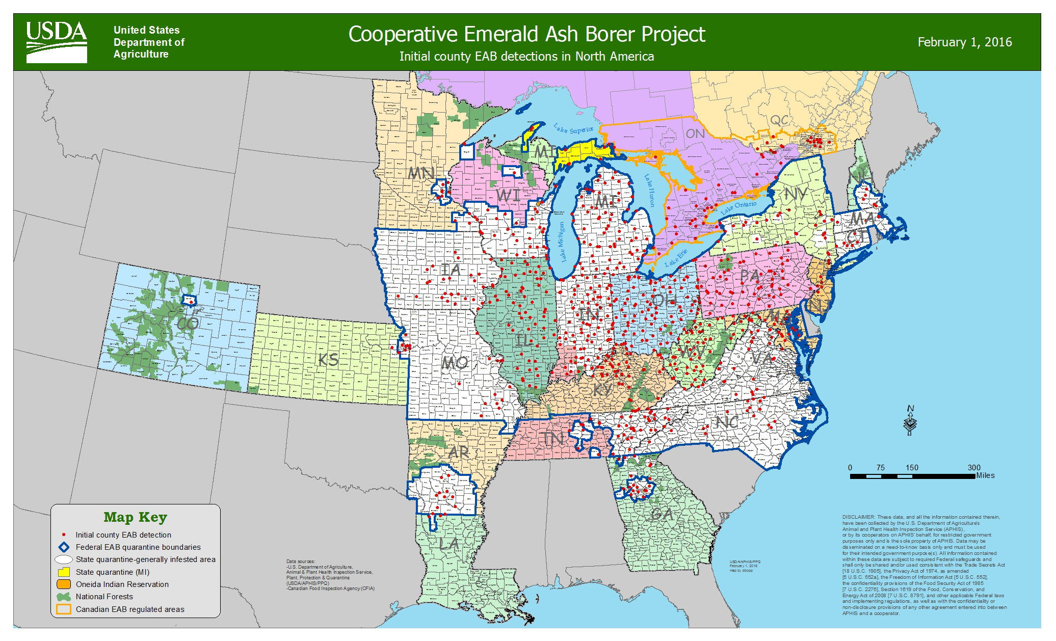 Emerald Ash Borer Distribution Map
